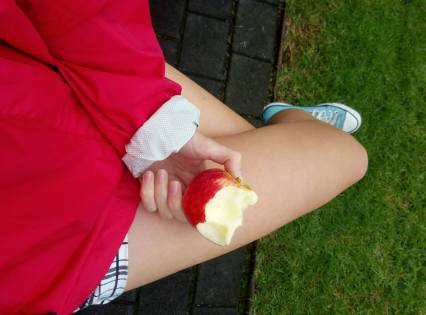legs and apple